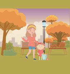 woman and little girl with sand bucket shavel in vector image