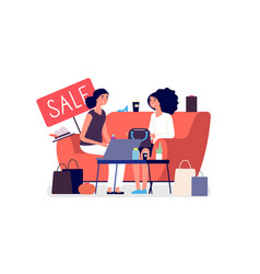 woman shopping girls discuss purchases sale vector image