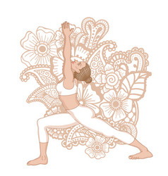 Women silhouette warrior 1 yoga pose vector