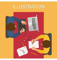 Workplace digital process Laptop and graphic vector