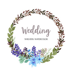 Wreaths watercolor flowers hand painted with text vector