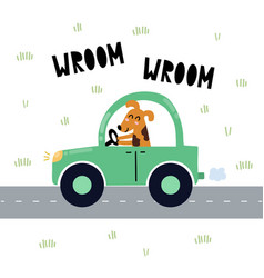 Wroom print with cute dog driving blue vector