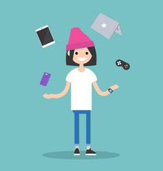 Young girl juggling electronic devices editable vector