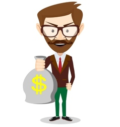 Young smiling businessman holding a bag of money vector image