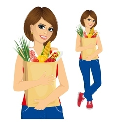 young woman carrying grocery paper bag vector image