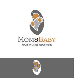 abstract logo of a mother holding baby vector image vector image