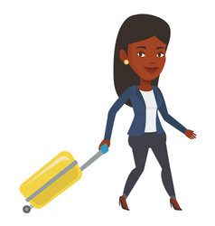 African woman walking with suitcase vector