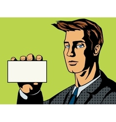Businessman with card pop art style vector image