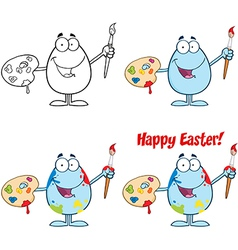 Egg Painter With A Brush Collection vector image vector image
