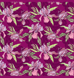 floral seamless pattern with hand drawn flowers vector image