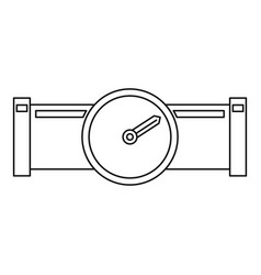 pipe with water meter icon outline style vector image