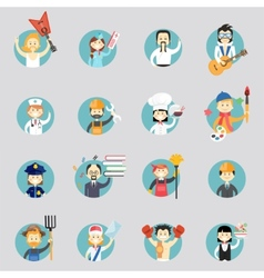 Badges with avatars of different professions vector image vector image
