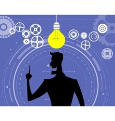Businessman silhouette with bulb of idea vector image vector image