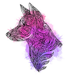 doodle of a dog head with a tribal vector image vector image