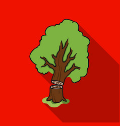 falling tree icon in flat style isolated on white vector image vector image