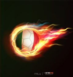 Italy flag with flying soccer ball on fire isolate vector image