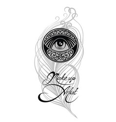 makeup artist business card with eye and feathers vector image vector image