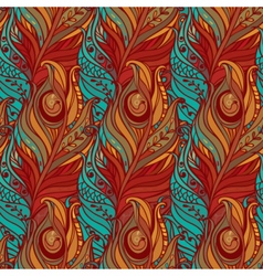 Seamless pattern with decorative feather vector image vector image