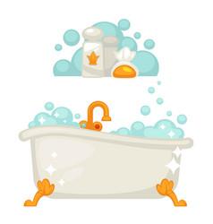 bathtub with soap bubbles in bathroom icon vector image