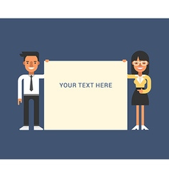 Businessmen with Blank Banner Male and Female vector image