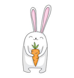 cartoon bunny with carrot vector image