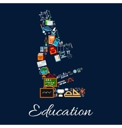 Education microscope symbol of science icons vector image vector image