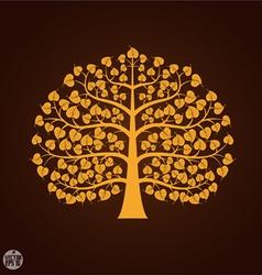 Golden Bodhi tree symbol vector image