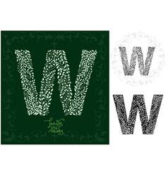 leaves alphabet letter w vector image