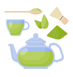 matcha tea flat icons set vector image vector image