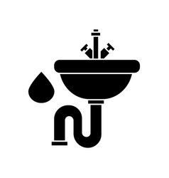 sink icon black sign on vector image vector image