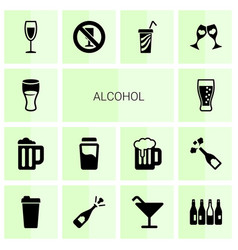 14 alcohol icons vector image