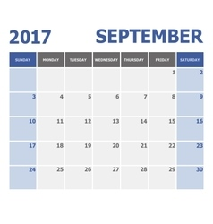 2017 September calendar week starts on Sunday vector
