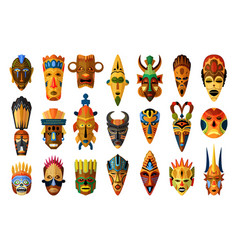 african mask set isolated on white background vector image