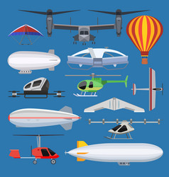 aircraft drone jet and airship helicopter vector image