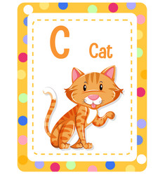Alphabet flashcard with letter c for cat vector