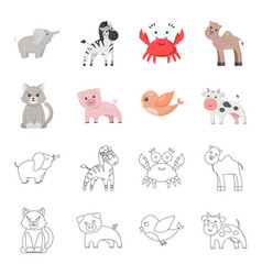 an unrealistic cartoonoutline animal icons in set vector image