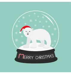 Arctic polar bear cub in red santa hat Cute vector image