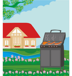Backyard barbecue vector
