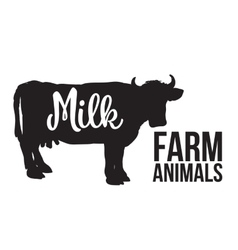 Black Cow with lettering on her body vector