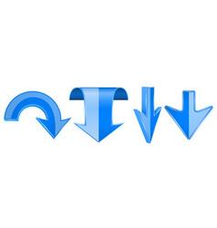 blue arrows set 3d web down icons vector image