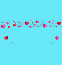 blue background valentines day red and pink vector image