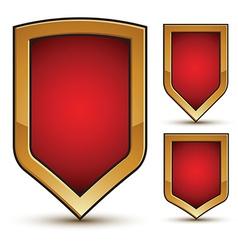 Branded glossy geometric symbols set stylized red vector