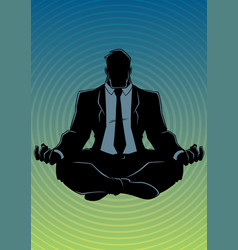 businessman meditating background silhouette vector image