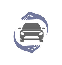 Car logo with circle hand insurance concept vector