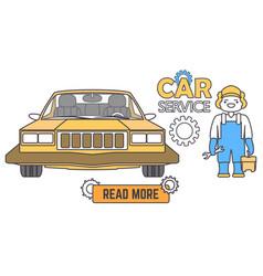 car service banner mechanic worker in car repair vector image