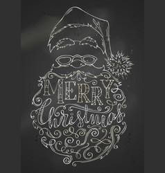 Chalk merry christmas lettering on blackboard vector