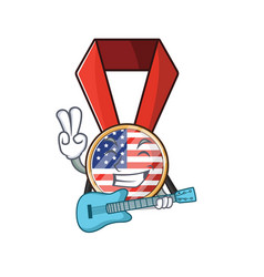 Character usa medal isolated on with guitar vector