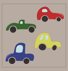 Childrens colorful cartoon cars vector