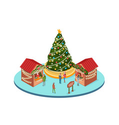 Christmas marketplace people buying souvenirs vector