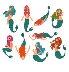 collection cute little mermaids funny vector image